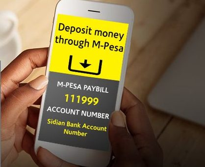 How to deposit money Sidian Bank account via MPesa