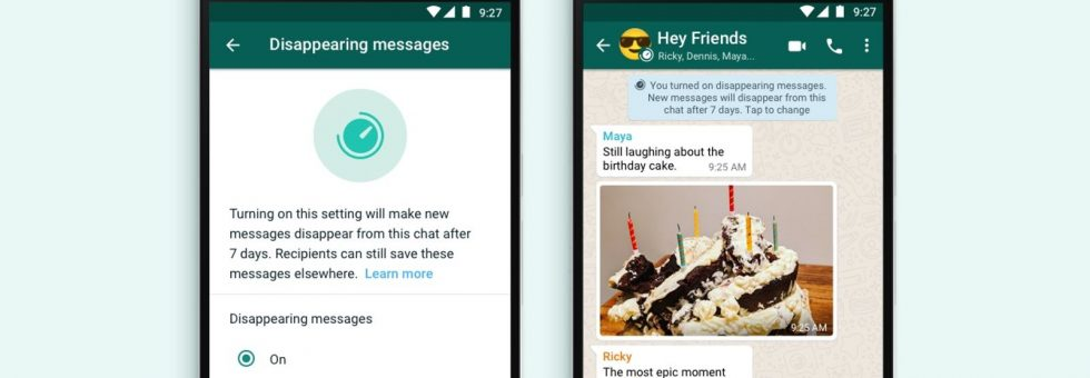How to set Whatsapp messages to automatically delete after seven days
