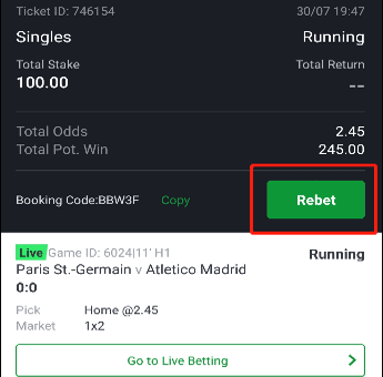 How to rebet on Sportybet