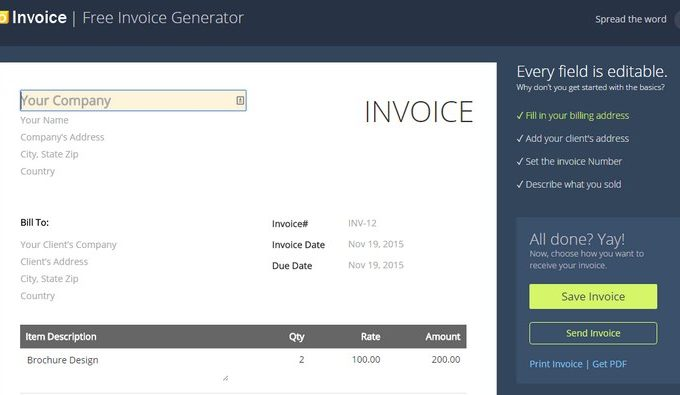 Zoho makes its online invoicing solution free of charge